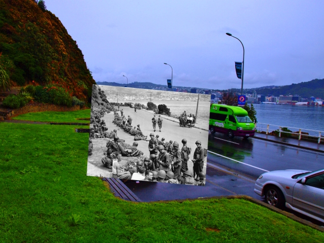 United States troops, Oriental Bay, Wellington. New Zealand Free Lance : Photographic prints and negatives. Ref: PAColl-5936-42. Alexander Turnbull Library, Wellington, New Zealand. http://natlib.govt.nz/records/23136837
