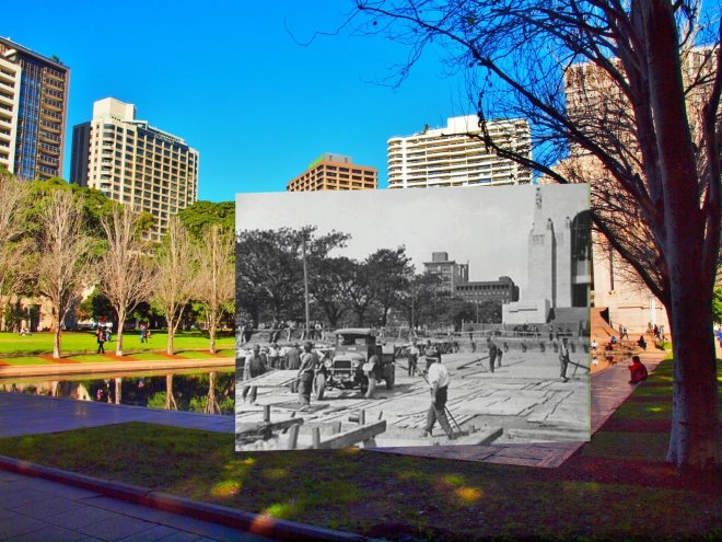 Construction of Anzac Memorial and Pool of Reflection. 03535659 City of Sydney Archives.