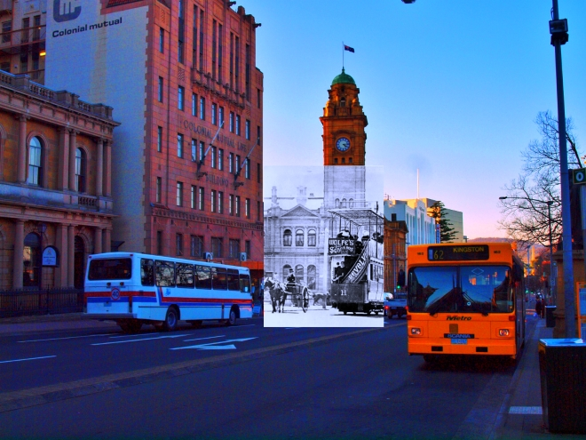 View of early Hobart city transport. PH30-1-4397 Tasmanian Archive and Heritage Office (TAHO)